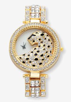 Gold Tone Crystal Leopard Fashion Watch 7.5 inches,