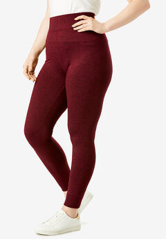 Performance Legging with Wide Waistband, DARK WINE SPACE DYE