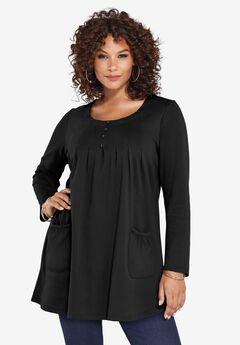 Long-Sleeve Two-Pocket Soft Knit Tunic, BLACK