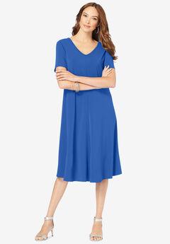 Ultrasmooth® V-Neck Swing Dress, TRUE BLUE