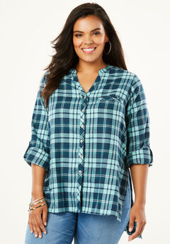 Plaid Flannel Maxi Tunic with High-Low Hem, TEAL MIXED PLAID