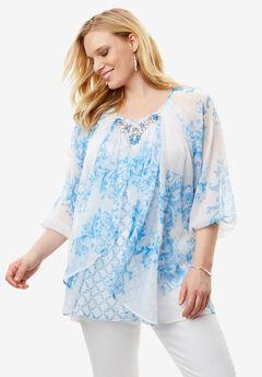 Embellished Print Tunic, VIBRANT TURQ PRINT, hi-res
