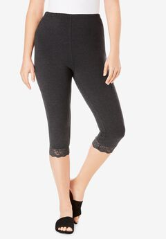 Lace-Trim Essential Stretch Capri Legging,