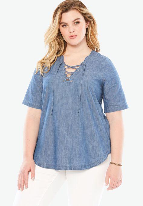 8f00c48311a Lace Up Denim Shirt by Denim 24 7