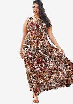 A-Line Crinkle Maxi Dress, MAROON TRIBAL PRINT, hi-res