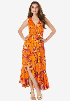 Sleeveless Wrap Maxi Dress,