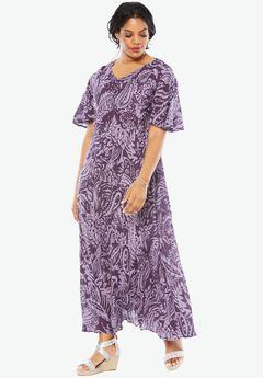 Crinkle Short Sleeve Maxi Dress, PURPLE PAISLEY PRINT, hi-res