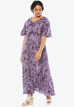 Crinkle Short Sleeve Maxi Dress, PURPLE PAISLEY PRINT, hi-res