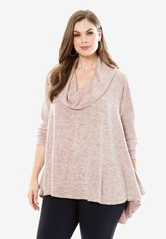 Cowlneck Drapey Tunic, ANTIQUE MAUVE, hi-res