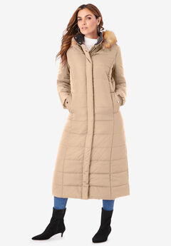 Maxi-Length Puffer Jacket with Hood, SPARKLING CHAMPAGNE