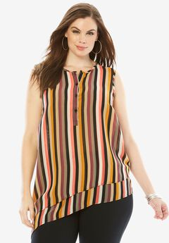 Asymmetrical Tunic, MULTI STRIPE, hi-res