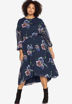 Sheer Sleeve High-Low Dress Castaluna by La Redoute,