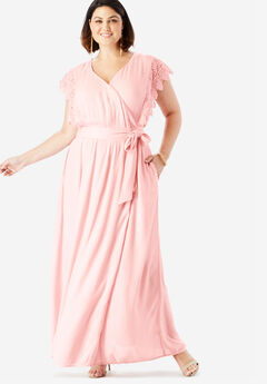 Crinkle Wrap Maxi Dress With Crochet Lace Sleeves,