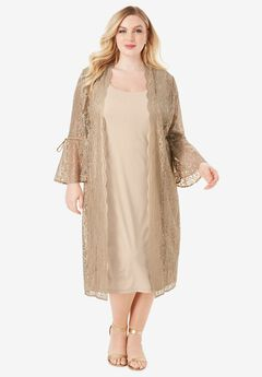 Lace Duster Jacket Dress Set,