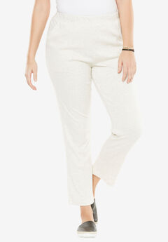 Soft Knit Straight-Leg Pants, HEATHER OATMEAL, hi-res
