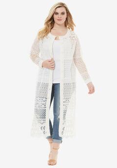 Long Lace Crochet Cardigan, IVORY, hi-res