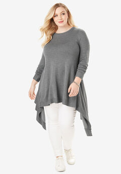 Boatneck Trapeze Sweater, MEDIUM HEATHER GREY, hi-res