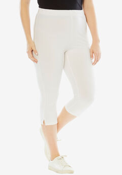 Stretch Capri Leggings, WHITE