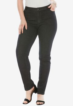 Straight Leg Jean with Invisible Stretch® by Denim 24/7®, BLACK DENIM, hi-res