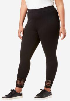 Lace-Hem Legging, BLACK, hi-res