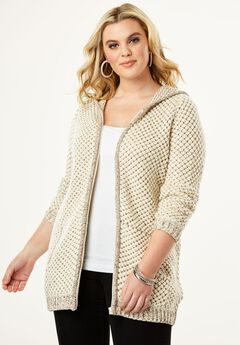 Tweed Thermal Hoodie Cardigan,