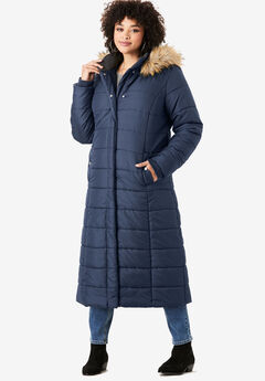 Maxi-Length Quilted Parka with Hood, NAVY
