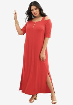Cold Shoulder Dress, HOT RED, hi-res