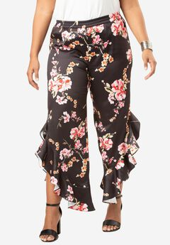 Ruffle Wide-Leg Pants, TROPICAL FLORAL PRINT, hi-res