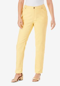 Straight-Leg Jean with Invisible Stretch® by Denim 24/7®, LEMON MIST