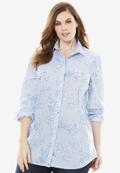 The Kate Shirt, BLUE FLORAL STRIPE