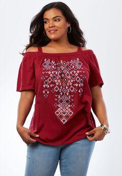 Embroidered Cold-Shoulder Top,