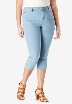 Denim Capri with Invisible Stretch® by Denim 24/7®, LIGHT WASH