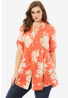 English Floral Tunic with Pintucks, DUSTY CORAL PRINT