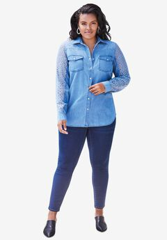 Lace-Sleeve Denim Bigshirt,