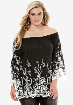 Lace Denim Shirt, BLACK WHITE COMBO, hi-res