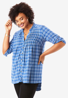 Flannel Pintuck Tunic, BLUE MINI PLAID