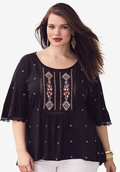Embroidered Trapeze Top, BLACK, hi-res