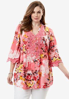 Print Lace Tunic, PINK FLORAL PRINT, hi-res