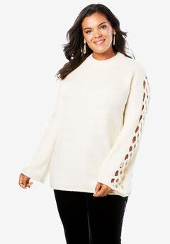 Lattice Bell-Sleeve Sweater,