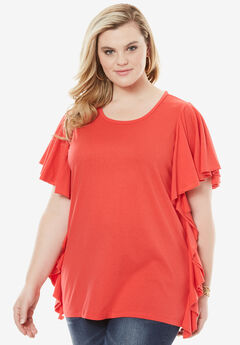 Side Ruffle Tee, CORAL RED, hi-res
