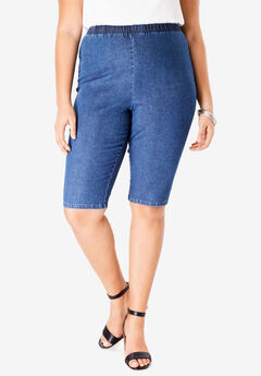 Pull-On Stretch Denim Bermuda Short by Denim 24/7®, MEDIUM STONEWASH