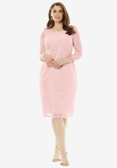 Lace Sheath Dress, PALE BLUSH, hi-res