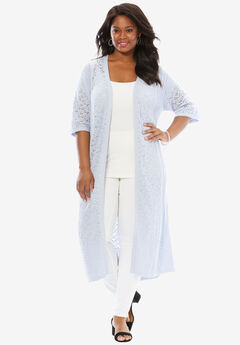 Pointelle Open Long Cardigan, BLUEBERRY CREAM, hi-res