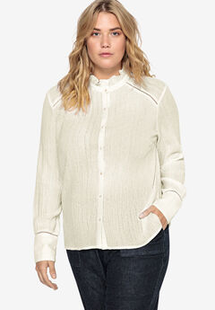 Ruffle Trim Button-Front Blouse Castaluna by La Redoute, IVORY