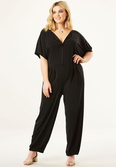 V-neck Jumpsuit with Kimono Sleeves,