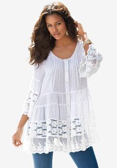 Illusion Lace Big Shirt, WHITE