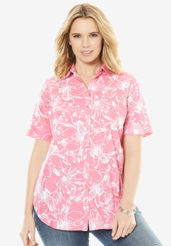 Kate Short-Sleeve Shirt, ROYAL ROSE FLORAL, hi-res