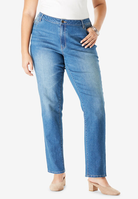 Straight Leg Jean with Invisible Stretch® by Denim 24/7®| Plus Size ...