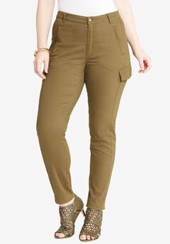 Skinny Fit Cargo Pants by Denim 24/7®, DARK OLIVE GREEN, hi-res