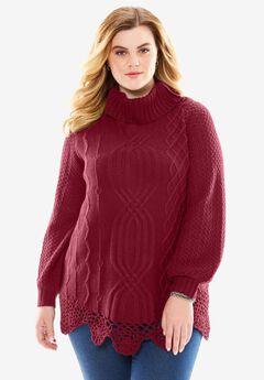 Cable Sweater by Denim 24/7®, DARK CHERRY